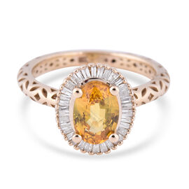 9K Yellow Gold Yellow Sapphire and Diamond Halo Ring 1.96 Ct.