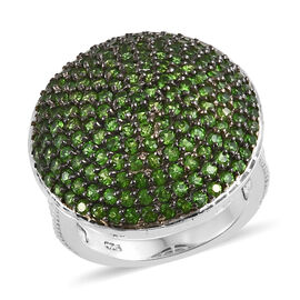 2.75 Carat Russian Diopside Cluster Ring in Platinum Plated Sterling Silver 6.40 Gms