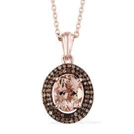 Rare Size Marropino Morganite (Ovl9X7 1.65 Cts), Natural Champagne Diamond (Rnd 0.35 Cts) Pendant wi