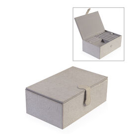 Leather Hide Two Tier Jewellery Box with Magnetic Flap Closure (Size 23.5x14.5x9 Cm) - Grey Colour