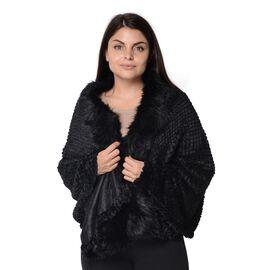 Super Soft Faux Fur Wrap with Pineapple Pattern (Size 152x59 Cm) - Black