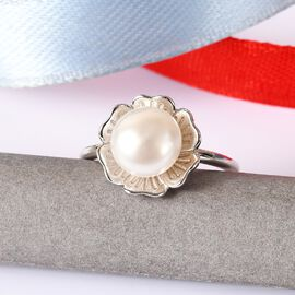 Freshwater Pearl Floral Ring in Platinum Overlay Sterling Silver