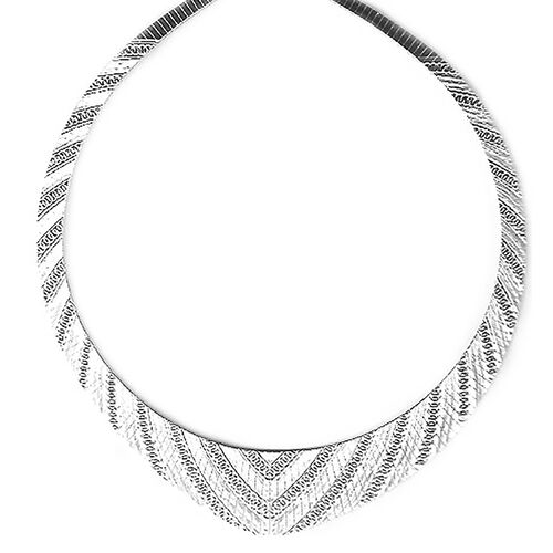 Cleopatra Necklace in Rhodium Plated Sterling Silver 17.5 Inch