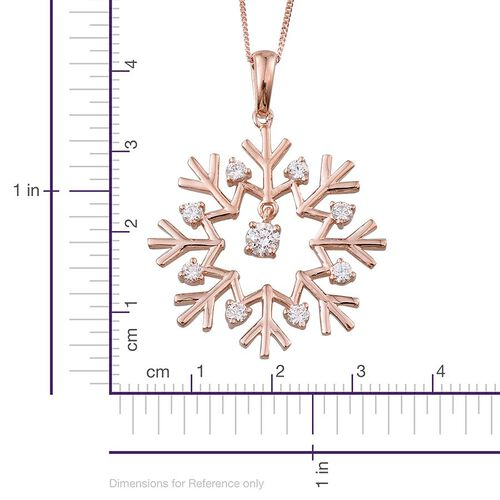 J Francis - Rose Gold Overlay Sterling Silver (Rnd) Snowflake Pendant With Chain Made with SWAROVSKI ZIRCONIA 0.730 Ct.