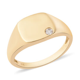 Diamond Signet Ring in 9K Gold