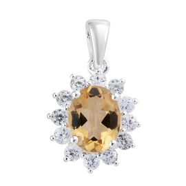 Citrine (Ovl), Natural Cambodian Zircon Pendant in Sterling Silver 2.50 Ct.