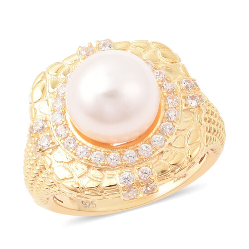 Edison Pearl and Natural Cambodian Zircon Ring in Yellow Gold Overlay Sterling Silver, Silver wt 6.5