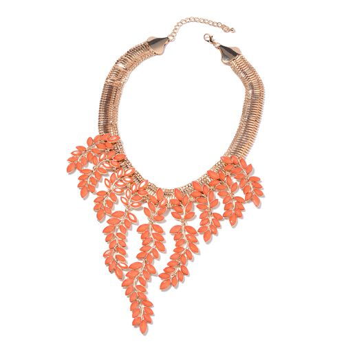 Simulated Red Coral Leaf Waterfall Necklace in Gold Tone 17 with 4 inch Extender
