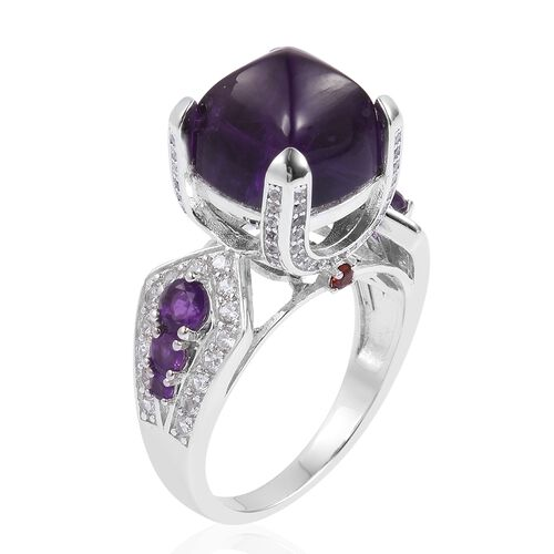 Sugar Loaf Cut Amethyst (Cush 9.50 Ct), Natural White Cambodian Zircon and Mozambique Garnet Ring in Platinum Overlay Sterling Silver 12.040 Ct.