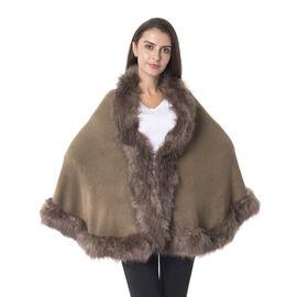 Designer Inspired-Khaki Colour Cosy Faux Fur Bordered Wrap (Size 180x60 Cm)