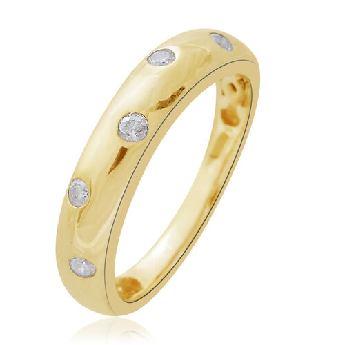 WEBEX- 9K Yellow Gold SGL Certified Diamond (Rnd) (I3/G-H) Band Ring 0.150 Ct.