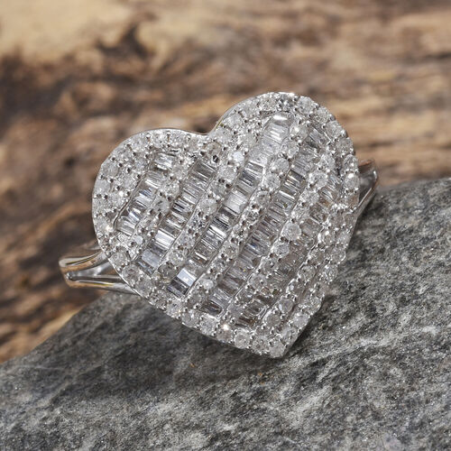0.75 Ct Diamond Cluster Heart Ring in 9K White Gold SGL Certified I3 GH