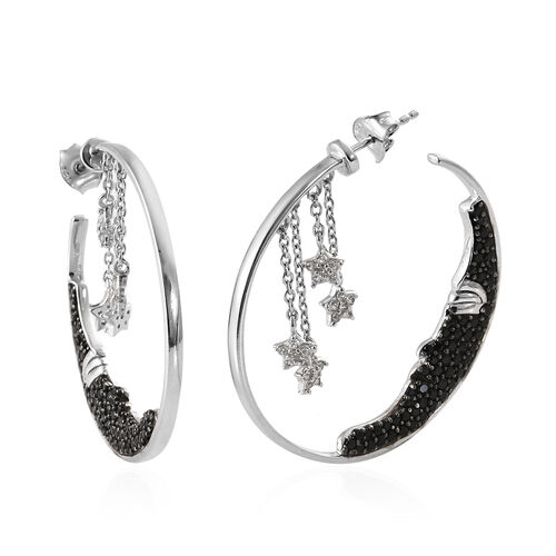 GP Boi Ploi Black Spinel (Rnd), Kanchanaburi Blue Sapphire, Natural Cambodian Zircon Hoop Earrings (With Push Back) in Platinum Overlay and Black Plating Sterling Silver 2.750 Ct, Silver wt 10.8 Gms