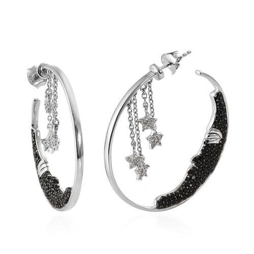 GP Boi Ploi Black Spinel (Rnd), Kanchanaburi Blue Sapphire, Natural Cambodian Zircon Hoop Earrings (