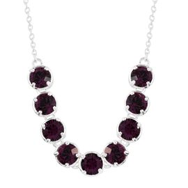 J Francis Crystal from Swarovski - Amethyst Colour Crystal (Rnd) Necklace (Size 18) in Sterling Silver