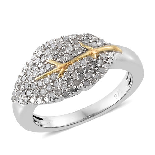 Autumn Special- Designer Inspired- Diamond (Rnd) Leaf Ring in Platinum and Yellow Gold Overlay Sterling Silver 0.500 Ct.