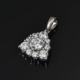 J Francis Platinum Overlay Sterling Silver Pendant Made with SWAROVSKI ZIRCONIA 2.25 Ct
