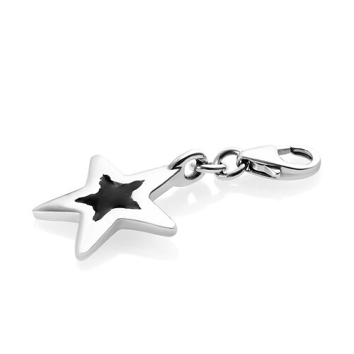 Platinum Overlay Sterling Silver Star Charm With Enameled