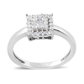 0.33 Ct Diamond Cluster Ring in 9K White Gold SGL Certified I3 GH