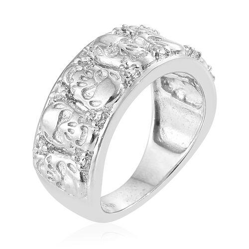 J Francis - Platinum Plated (Rnd) Ring Made with SWAROVSKI ZIRCONIA
