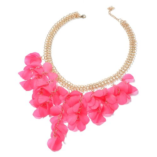 Fuscia Flower Petals BIB Necklace (Size 20) in Gold Bond.