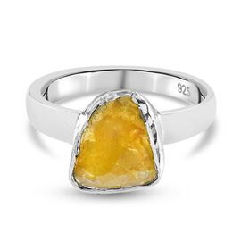 Yellow Polki Diamond Hand Crafted Ring in Sterling Silver