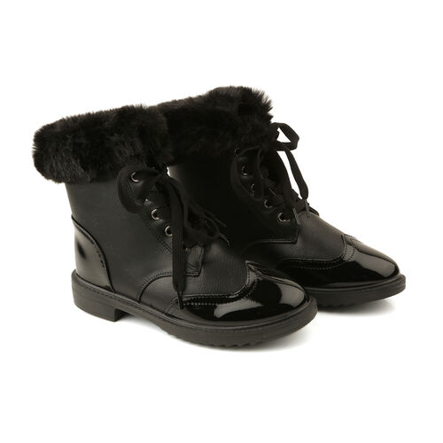 Warm Faux Fur Ankle Boots (Size 5) - Black