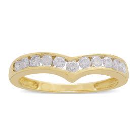 9K Yellow Gold SGL Certified Diamond (Rnd) (I3/G-H) Wishbone Ring 0.500 Ct.
