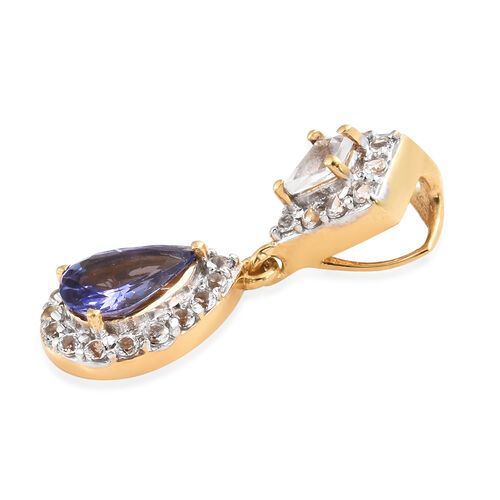 Tanzanite (Pear), White Topaz Pendant in 14K Gold Overlay Sterling Silver 1.000 Ct.