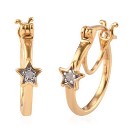 Diamond Star on Hoop earrings (with Clasp) in 14K Gold Overlay Sterling Silver