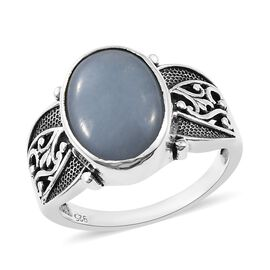 Artisan Craft Mexican Angelite (Ovl) Ring in Oxidised Sterling Silver 4.68 Ct.