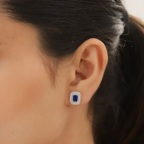 Tanzanian Blue Spinel and Natural Cambodian Zircon Halo Earrings (with Push Back) in Platinum Overlay Sterling Silver 1.93 Ct.
