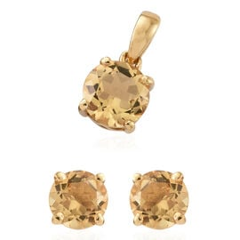 Brazilian Citrine (Rnd) Stud Earrings (With Push Back) and Pendant in 14K Gold Overlay Sterling Silver 1.750 Ct.