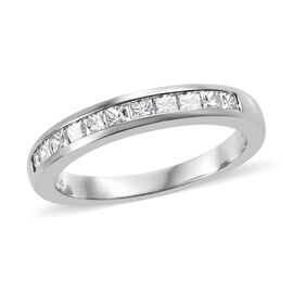 RHAPSODY 950 Platinum IGI Certified Diamond (Sqr) (VS/E-F) Half Eternity Band Ring 0.570 Ct.