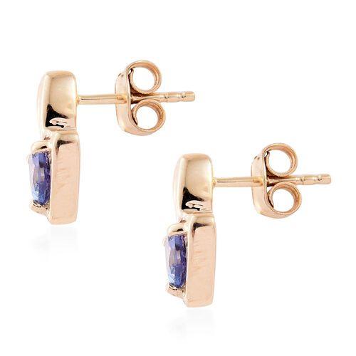 9K Yellow Gold AA Tanzanite (Trl) Stud Earrings (with Push Back) 0.835 Ct.