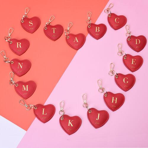 Christmas Edition 100% Genuine Leather Alphabet Red Heart Handbag Charm/Key Chain - R