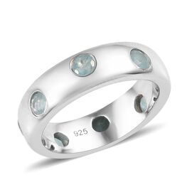 1 Carat Grandidierite Band Ring in Platinum Plated Silver 5.50 Grams
