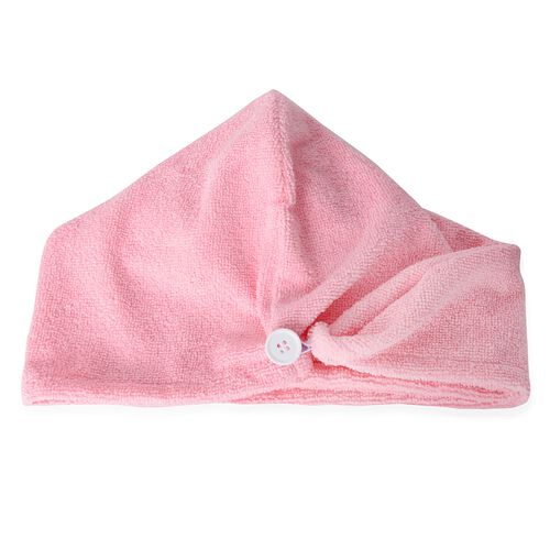 Set of 3 - White and Pink Colour Bath Set including 1 Shower Cap (Size 27 Cm), 1 Bath Flower Pad (Size 15x15 Cm) and 1 Hair Wrap (Size 62x24 Cm)