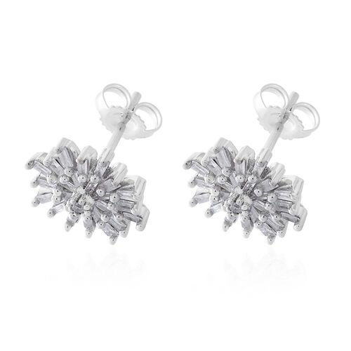 9K White Gold SGL Certified (I3/G-H) Diamond (Rnd and Bgt) Stud Earrings (with Push Back) 0.500 Ct.
