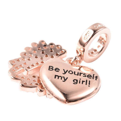 Charmes De Memoire - Simulated Diamond Heart with Angel Wings Charm in Rose Gold Overlay Sterling Silver
