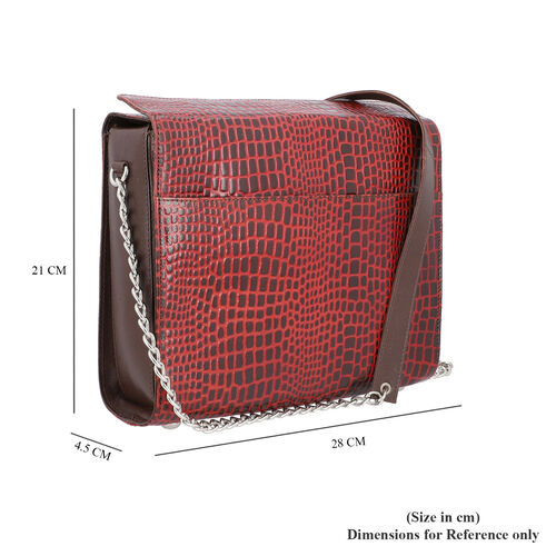 Close Out Deal- 100% Genuine Leather Croc Pattern Bag (Size 28x21x4.5cm) - Red