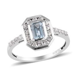 Aquamarine and Natural Cambodian Zircon Ring in Platinum Overlay Sterling Silver 0.90 Ct.