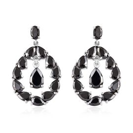 7.75 Ct Elite Shungite Drop Earrings in Platinum Plated Sterling Silver 8.57 Grams