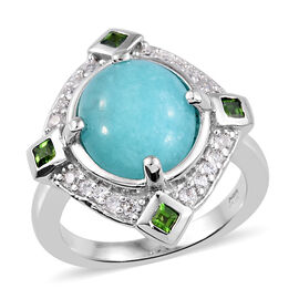 Natural Peruvian Amazonite (Ovl 12x10 mm), Natural Cambodian Zircon and Russian Diopside Ring in Pla