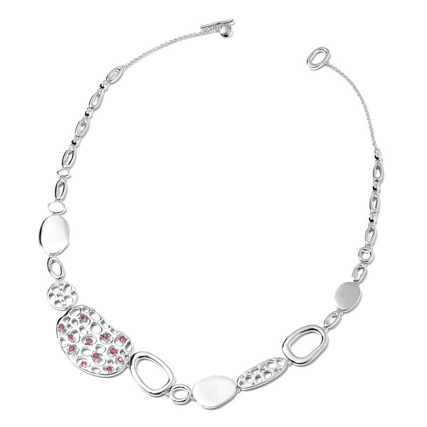 RACHEL GALLEY 1.56 Ct African Ruby Charmed Pebble Necklace in Rhodium Plated Silver 20 Inch