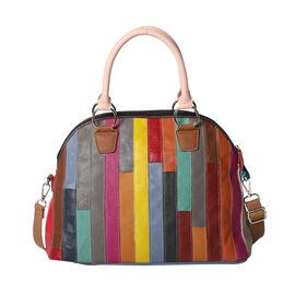 100% Genuine Leather Stripe-Pattern Handbag with Detachable Shoulder Strap (Size 37x16x28cm) - Multi