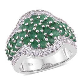 Kagem Zambian Emerald (Rnd), Natural Cambodian Zircon Ring in Platinum Overlay Sterling Silver 3.750 Ct. Silver wt. 9.25 Gms.