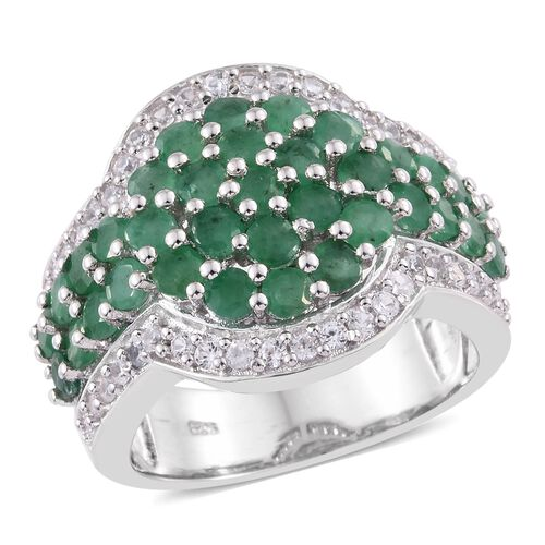3.75 Ct Zambian Emerald and Cambodian Zircon Cluster Ring in Sterling Silver 9.54 Grams
