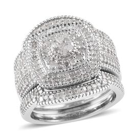 Set of 3 0.75 Ct Diamond Stacker Cluster Ring in Platinum Plated Sterling Silver