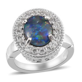 Australian Boulder Opal and Natural Cambodian Zircon Magnetic Ring in Platinum Overlay Sterling Silv